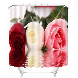 Three Rose in Different Colors 3D Printing Bathroom Shower Curtain