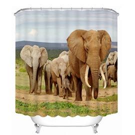 The Elephants Walking at Savannah Printing 3D Shower Curtain