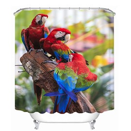 High-Quality Couple Colored Parrots Print 3D Bathroom Shower Curtain