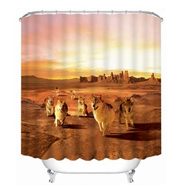 3D Running Wolves in the Desert Printed Polyester Shower Curtain