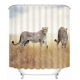 Two Leopards Playing on the Grassland Print 3D Bathroom Shower Curtain