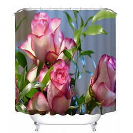 Lovely Blooming Pink Roses Print 3D Bathroom Shower Curtain