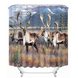 A Herd of Milu Deer Print 3D Bathroom Shower Curtain