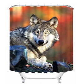 3D Little Lying Wolf Printed Polyester Shower Curtain