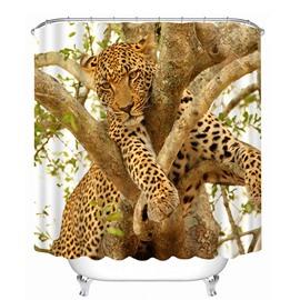 Leopard Climbing the Tree Print 3D Bathroom Shower Curtain