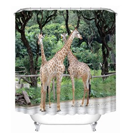 Couple Giraffes Playing Print 3D Bathroom Shower Curtain