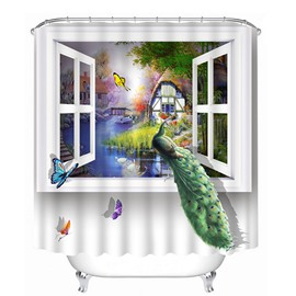 3D Peacock on Window Printed Polyester White Shower Curtain