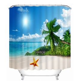 The Beautiful Scenery of the Beach Print 3D Bathroom Shower Curtain