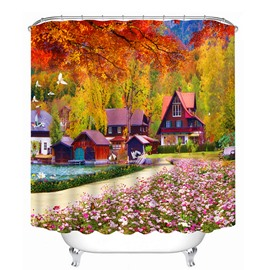 Wonderful Fall Scenery Print 3D Bathroom Shower Curtain