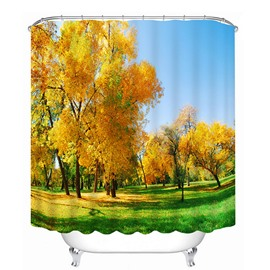 Golden Trees in the Fall Print 3D Bathroom Shower Curtain