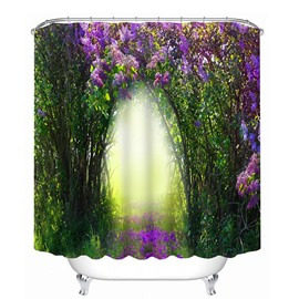 3D Purple Flowers and Forest Printed Polyester Green Shower Curtain