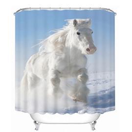 3D Running White Horse Printed Polyester Light Blue Bathroom Shower Curtain
