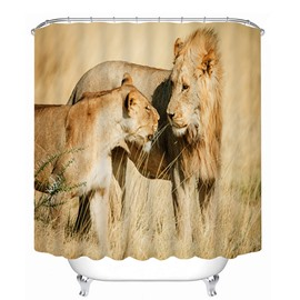 Father Lion Looking at Kid Lion with Love Print 3D Bathroom Shower Curtain