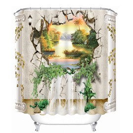 The Beautiful Scenery out of the Wall Print 3D Bathroom Shower Curtain