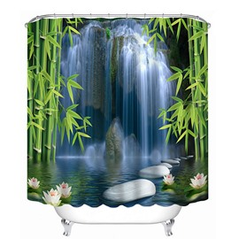 Spectacular Waterfall and Bamboos Print 3D Bathroom Shower Curtain