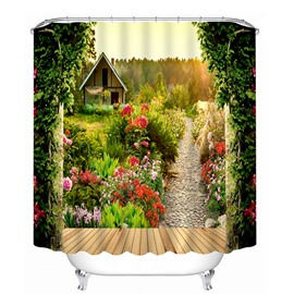 Log Cabin and Path with Flowers Print 3D Bathroom Shower Curtain