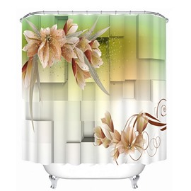 Three-Dimensional Squares and Flowers Print 3D Bathroom Shower Curtain