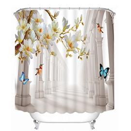 3D Colorful Butterflies and Peach Tree Printed Polyester Waterproof Antibacterial Bathroom Shower Curtain