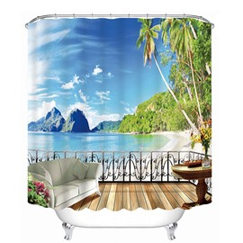 3D Seashore Balcony and Distant Mountains Printed Polyester Light Blue Shower Curtain