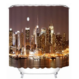 City Night View Print 3D Bathroom Shower Curtain