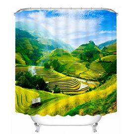 The Beautiful Terraced Fields Print 3D Bathroom Shower Curtain