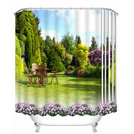 Beautiful Scenery of the Yard Print 3D Bathroom Shower Curtain