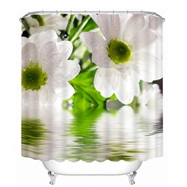 Lovely White Pear Flowers Print 3D Bathroom Shower Curtain
