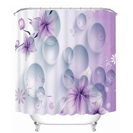 3D Purple Phalaenopsis and Bubbles Printed Light Purple Shower Curtain