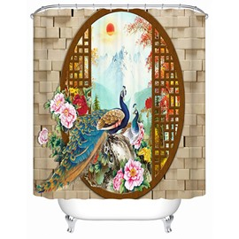 3D Peacock in Painting Printed Chinese Style Polyester Shower Curtain