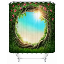 The Magic Tree Hole Print 3D Bathroom Shower Curtain