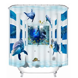 Blue Dolphins Swimming in Deep Sea Polyester Waterproof 3D Shower Curtain