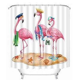 3D Cute Cartoon Flamingos Printed Polyester White Bathroom Shower Curtain