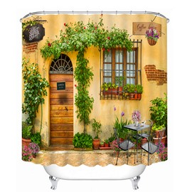 The Wooden Door and Flowers at the Door Print 3D Bathroom Shower Curtain