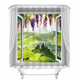 Green Field out of the Window Print 3D Bathroom Shower Curtain