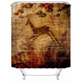 Cave Art Antelope Jumping Print 3D Bathroom Shower Curtain
