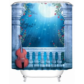 White Violin Under The Moonlight Print 3D Bathroom Shower Curtain