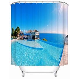 House by the Sea in the Sun Print 3D Bathroom Shower Curtain