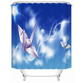 White Paper Cranes Print 3D Bathroom Shower Curtain