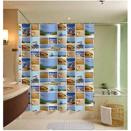 3D Beach Scenery Printed Grid Polyester Shower Curtain