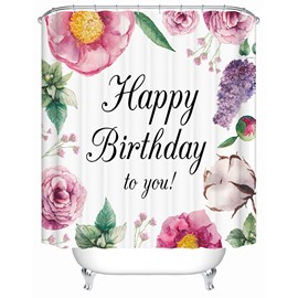 Happy Birthday Floral Print 3D Bathroom Shower Curtain