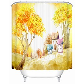 Cartoon Yellow Trees and Colorful House Print 3D Bathroom Shower Curtain