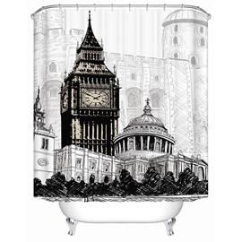 London Big Ben Print 3D Bathroom Shower Curtain