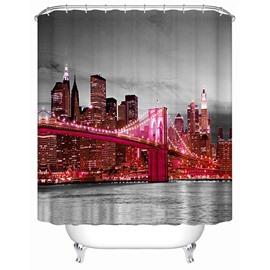 Pink London Bridge at Night Print 3D Bathroom Shower Curtain