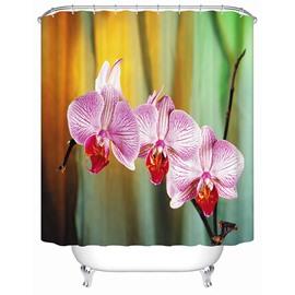 Pink Phalaenopsis Print 3D Bathroom Shower Curtain