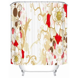 Cartoon Peony Blooming Print 3D Bathroom Shower Curtain