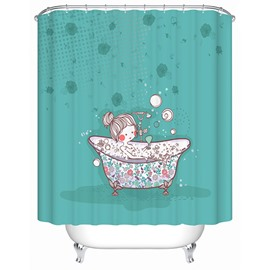 Cartoon Girl Taking Shower Print 3D Bathroom Shower Curtain