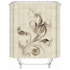 Amazing Ink Flowers Print 3D Bathroom Shower Curtain