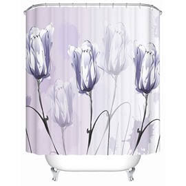 3D Purple Tulips Painting Printed Polyester Shower Curtain