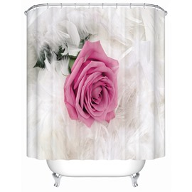 Pink Rose in the middle of White Feather Print 3D Bathroom Shower Curtain