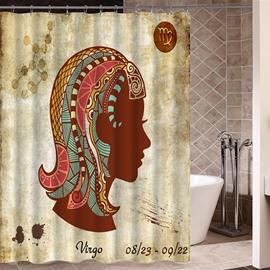 Exotic Virgo Symbol Print 3D Bathroom Shower Curtain